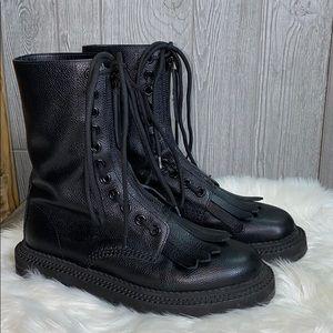 Burberry Kiltie Grainy Leather Combat Boots 39/9